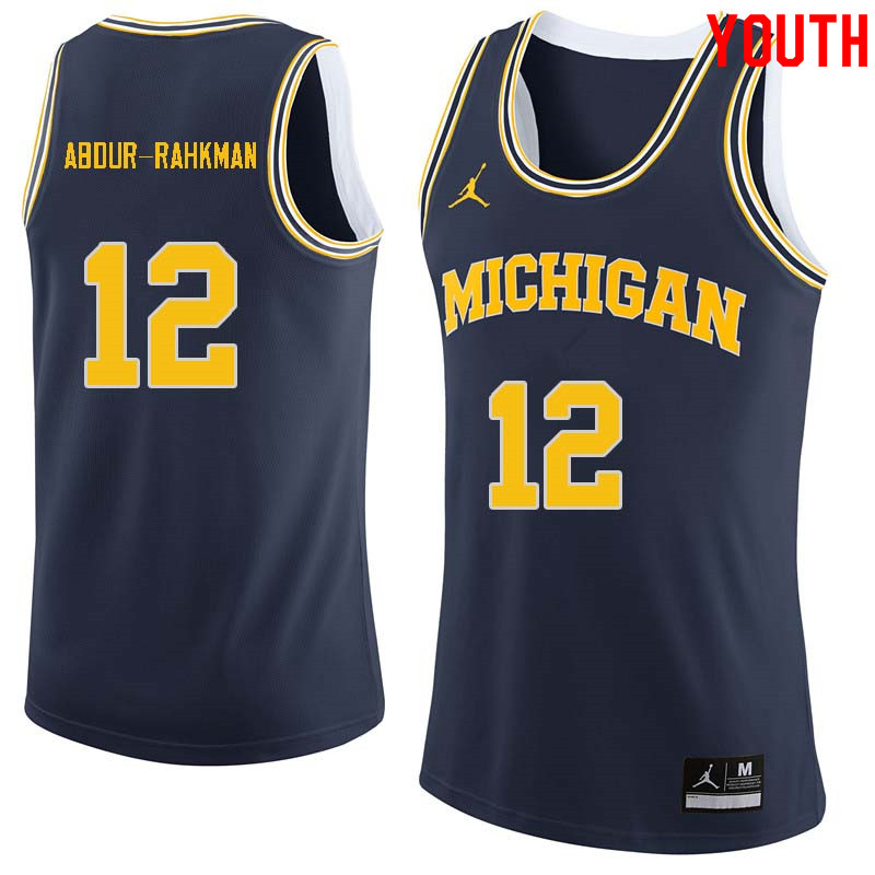 Youth #12 Muhammad-Ali Abdur-Rahkman Michigan Wolverines College Basketball Jerseys Sale-Navy