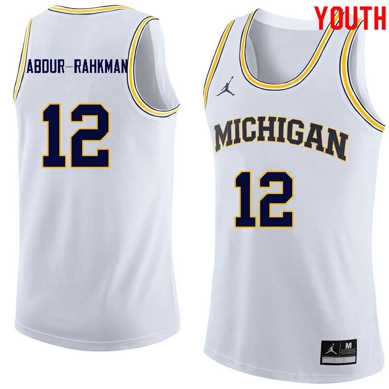 Youth #12 Muhammad-Ali Abdur-Rahkman Michigan Wolverines College Basketball Jerseys Sale-White