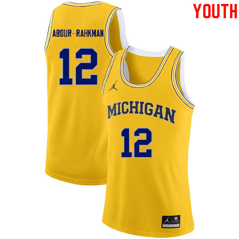 Youth #12 Muhammad-Ali Abdur-Rahkman Michigan Wolverines College Basketball Jerseys Sale-Yellow
