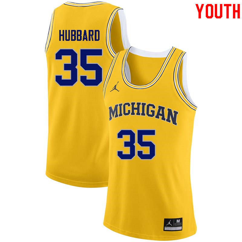 Youth #35 Phil Hubbard Michigan Wolverines College Basketball Jerseys Sale-Yellow