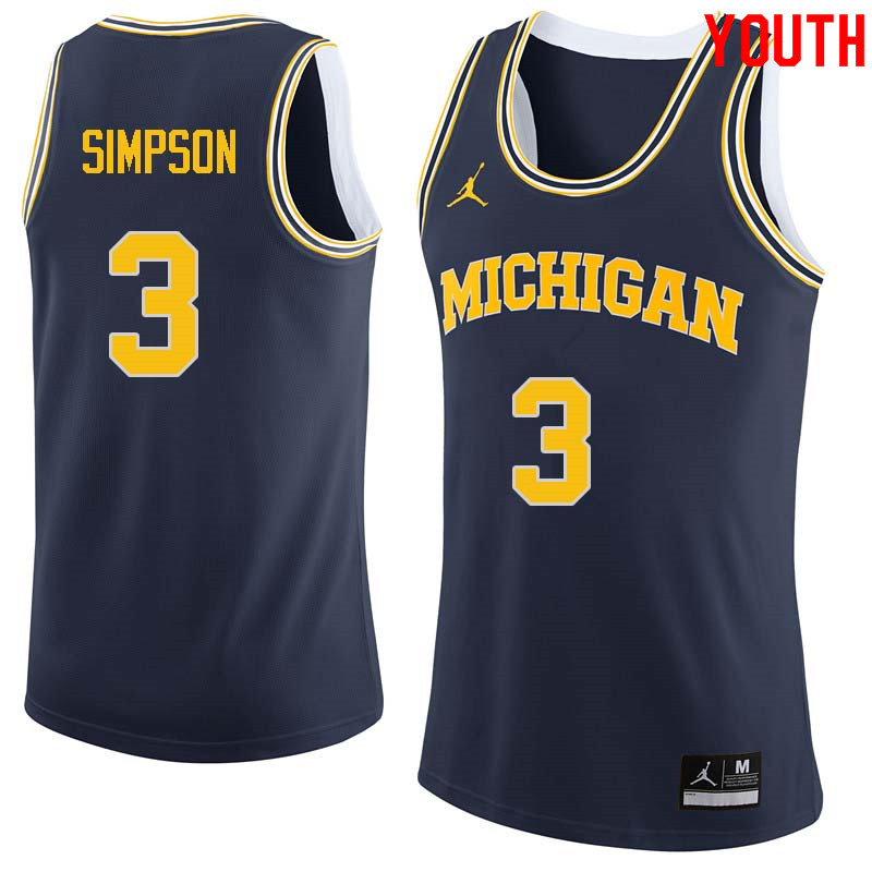 Youth #3 Zavier Simpson Michigan Wolverines College Basketball Jerseys Sale-Navy